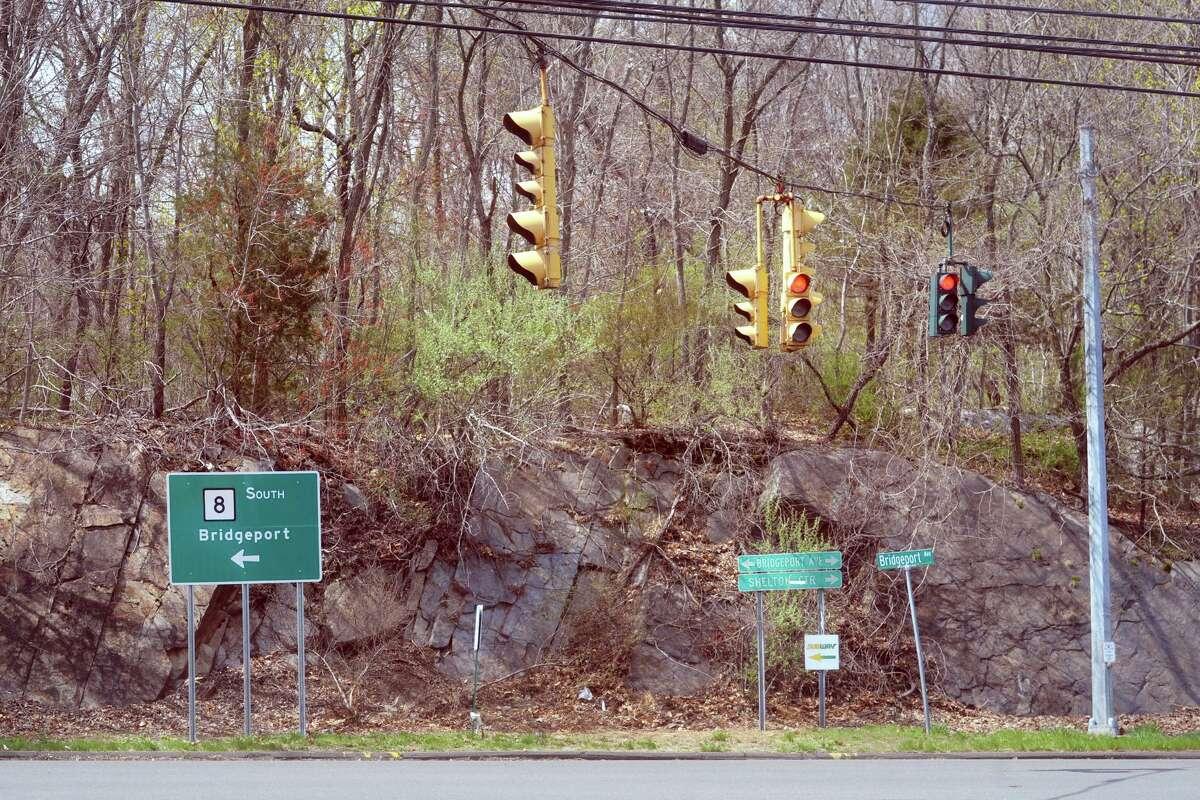 The intersection of Bridgeport Avenue (Rt. 108) and Constitution Blvd. South, in Shelton, Conn. April 14, 2021.