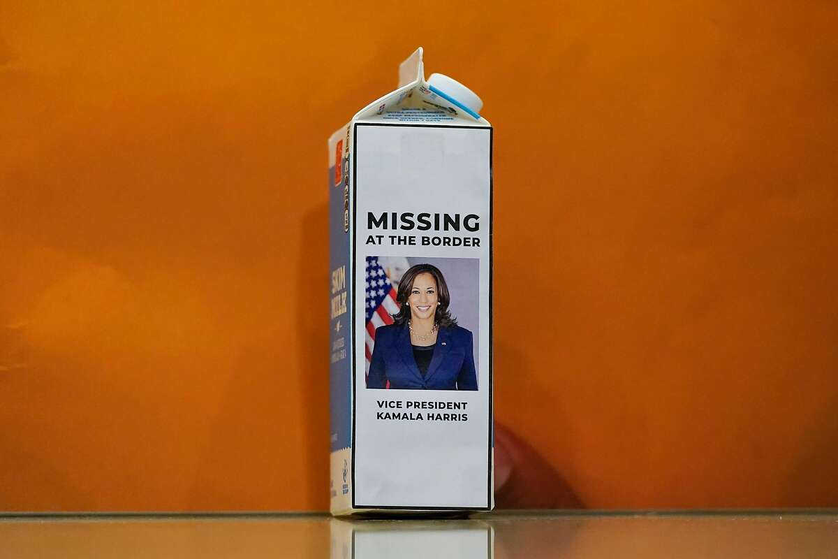 A milk carton with a picture of Vice President Kamala Harris sits on the floor during a House Republican news conference on Capitol Hill on April 14, 2021.