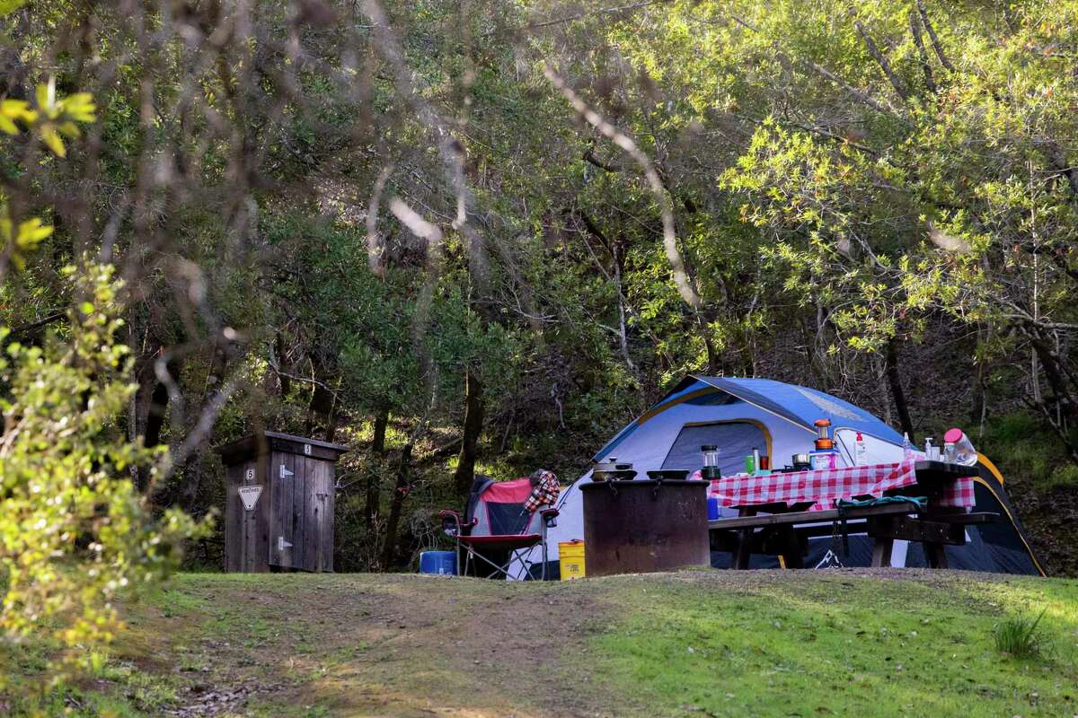 A tent is pitched at a campsite for hikers at China Camp State Park in San Rafael.