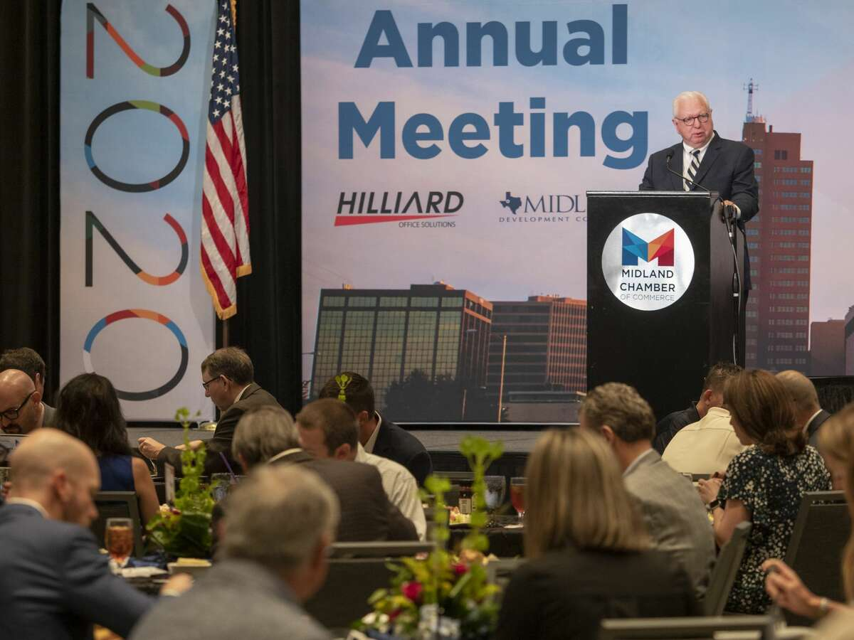 Midland Chamber President and CEO Bobby Burns welcomes everyone Sept. 3, 2020 to the Chamber of Commerce Annual meeting at the Bush Convention Center.