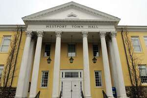 An exterior of Westport Town Hall in Westport, Conn., on Friday Apr. 17, 2020.
