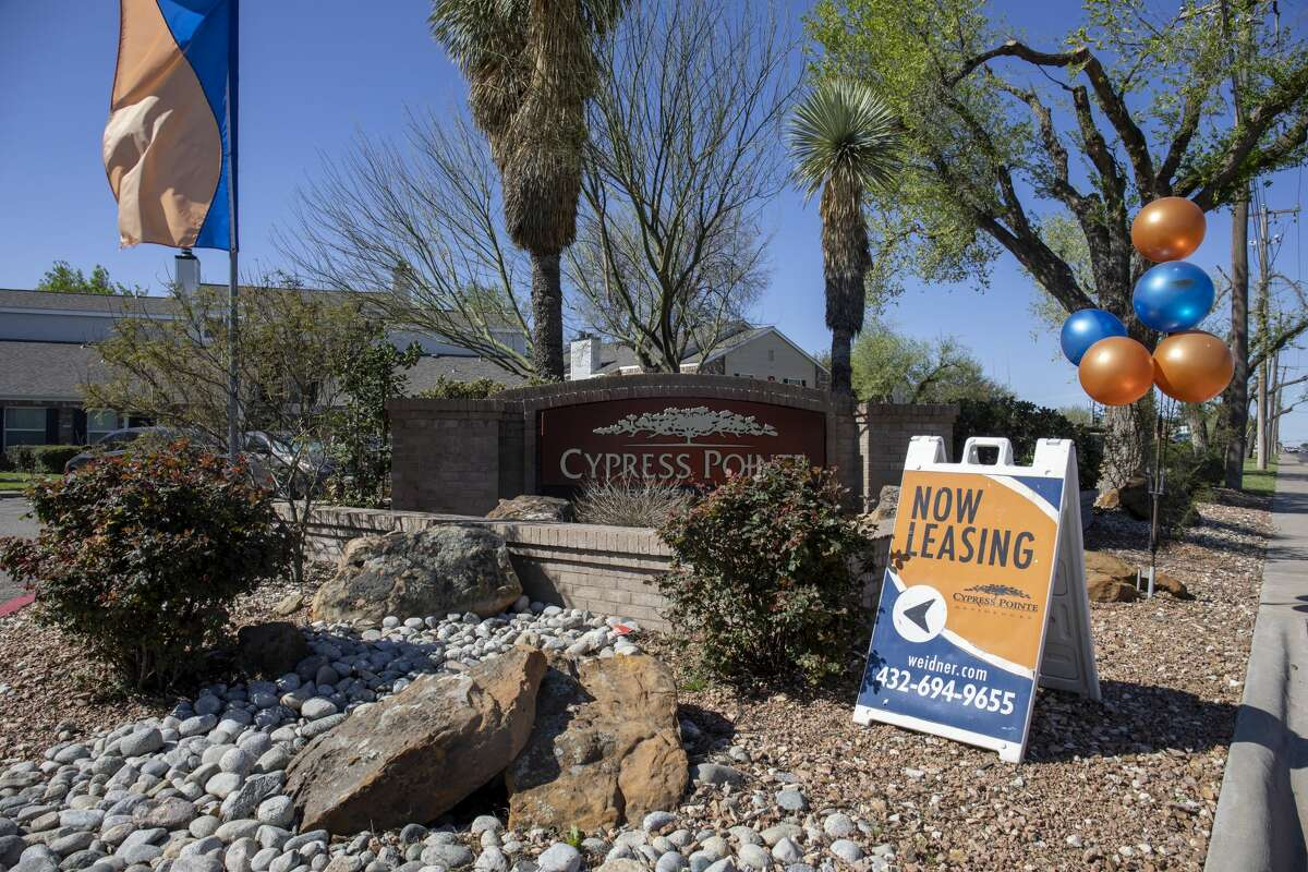"""A """"now leasing"""" sign is seen outside of Cypress Pointe Apartments March 28, 2020 at 3601 Andrews Highway."""
