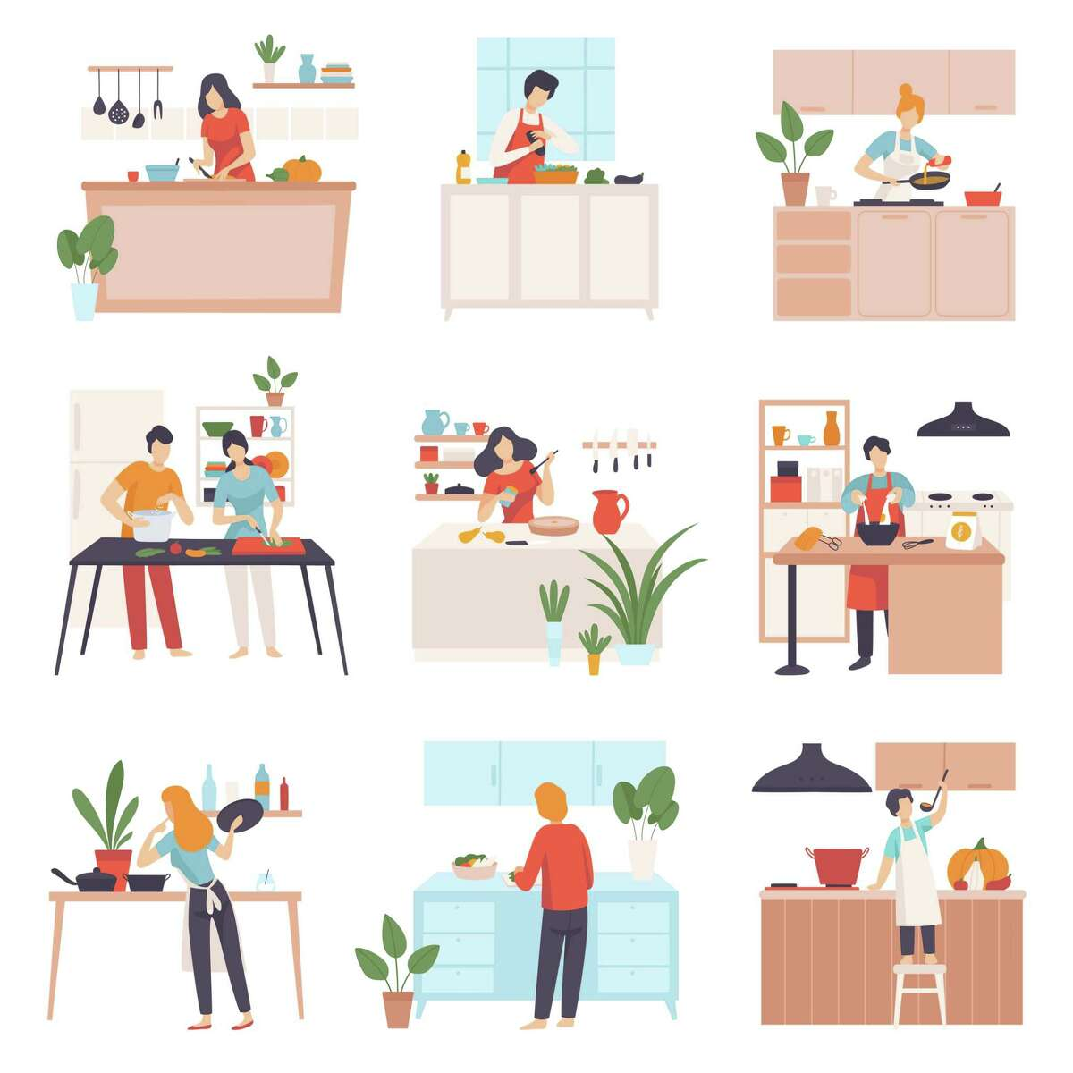 Set of images of people in the kitchen during the cooking process. Vector illustration.