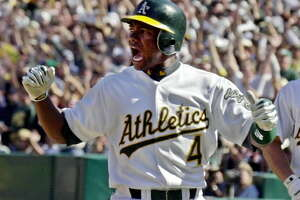 Miguel Tejada made six All-Star teams and won American League Most Valuable Player with the Athletics in 2002. His son, Miguel Tejeda, has signed with the Tri-City ValleyCats. (Associated Press)