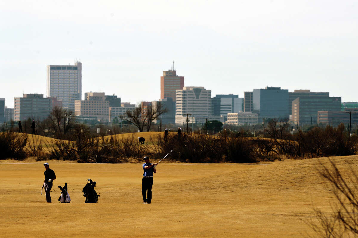 Midland city skyline is visible during the Tall City Golf Invitational Feb. 16, 2019 at Hogan Park Golf Course.