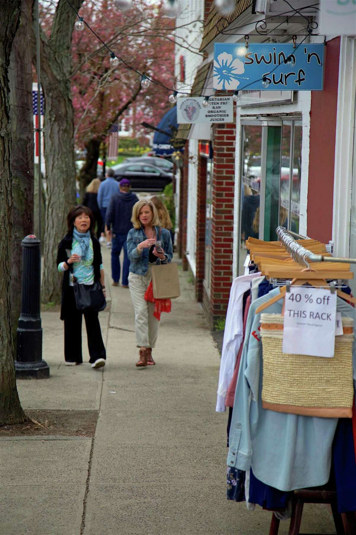 Discounts were in the offing, as in this shop along Unquowa Road, at the downtown Fairfield Shop & Stroll on Thursday, April 25, 2019, in Fairfield, Conn.