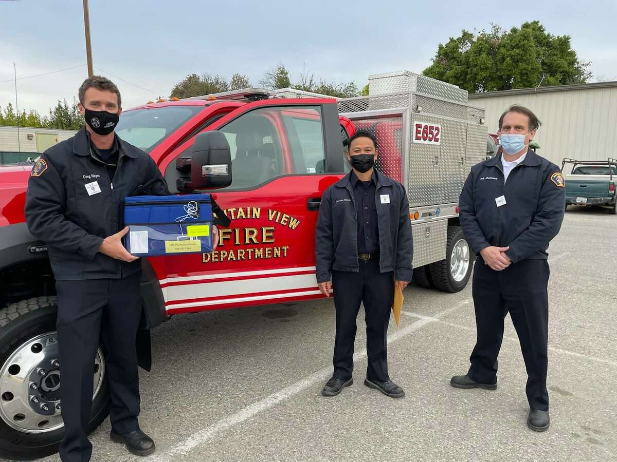 Mountain View firefighters administer in-home coronavirus vaccines to homebound individuals as part of a program launched by Santa Clara County's public health department and county fire departments.