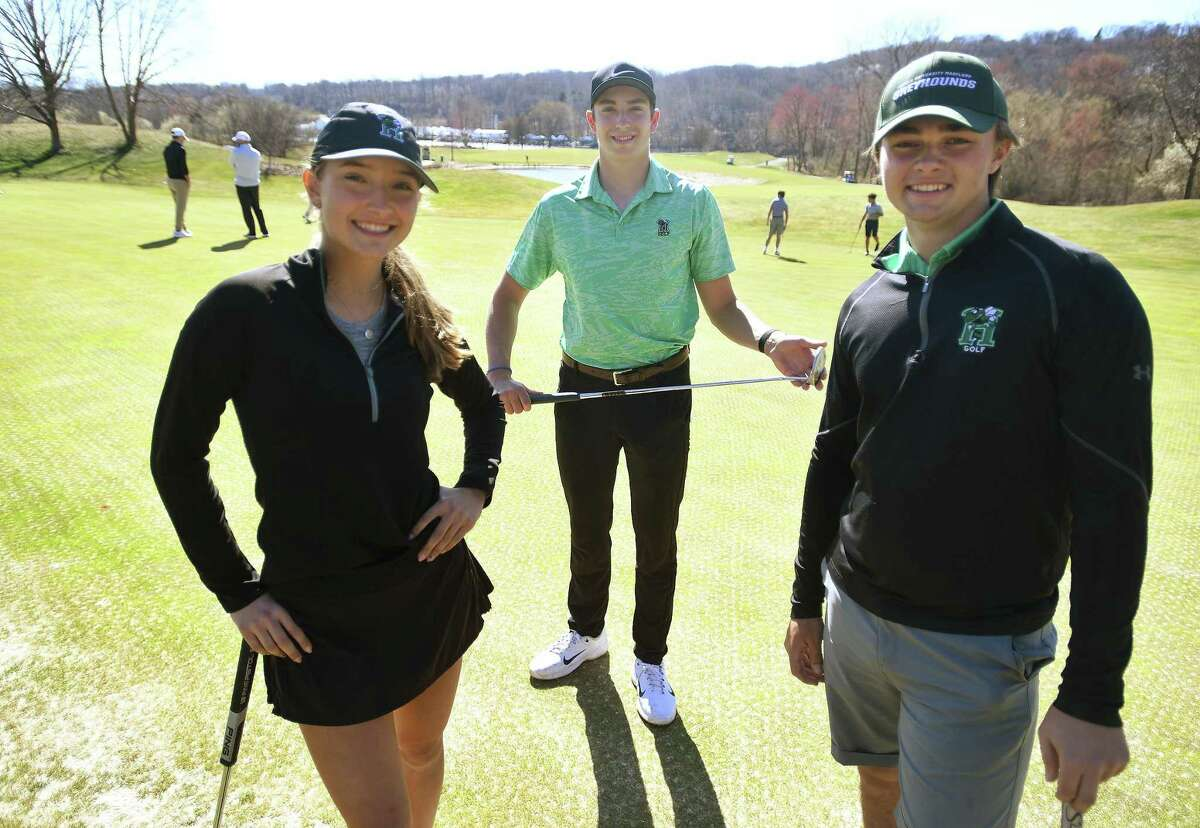 From left: sophomore Sophia Sarrazin, junior Ben James, and senior Jackson Roman lead the Hamden Hall golf team into the new spring season at Great River Country Club in Milford on April 7.