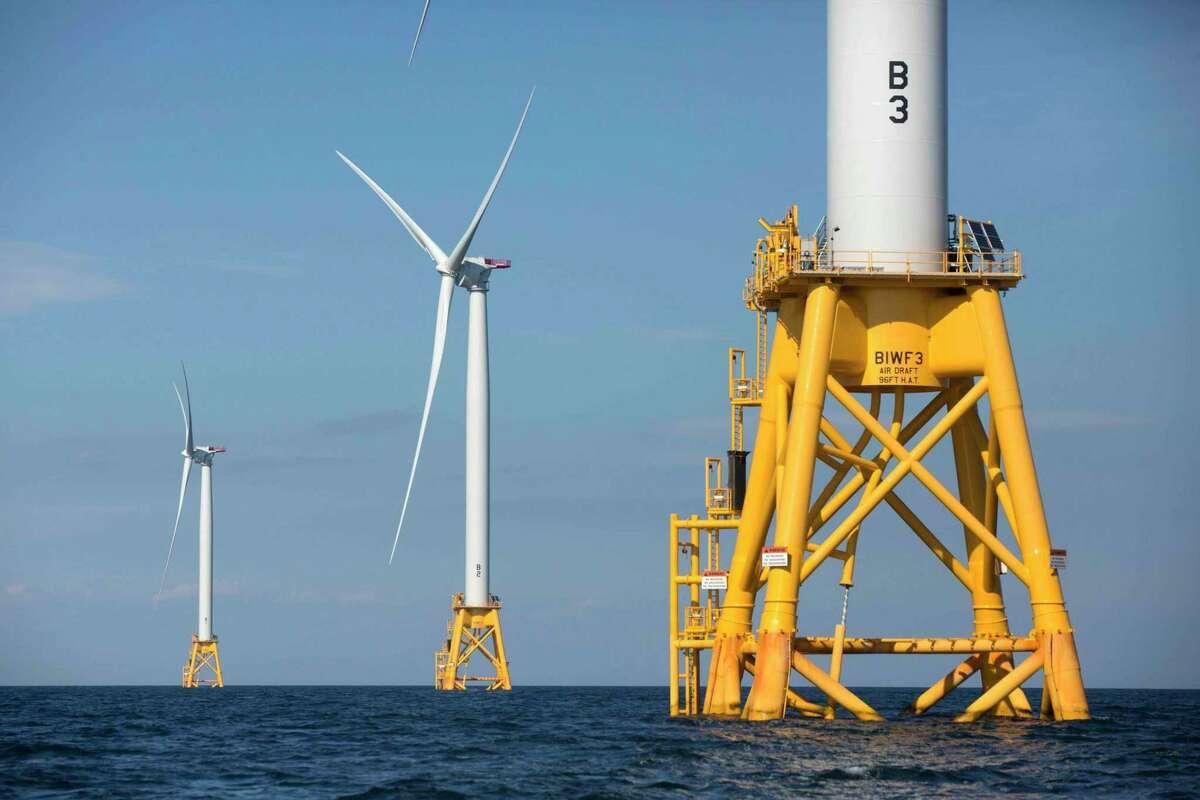 Wind turbines near Block Island, R.I. California lags the East Coast in offshore wind energy.