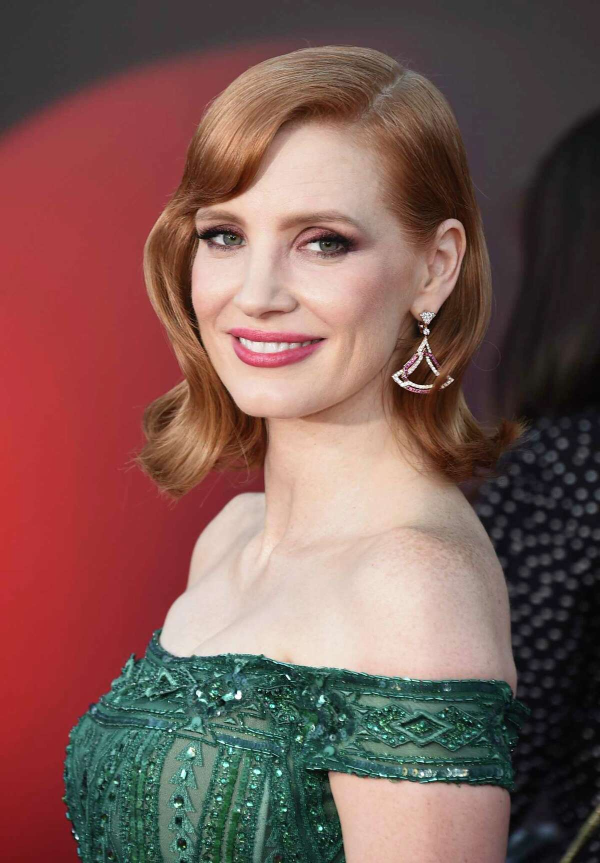Jessica Chastain arrives at the Regency Village Theatre in Los Angeles on Monday, August 26, 2019.