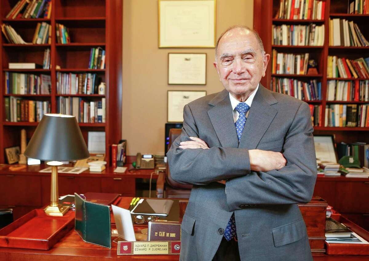 Ambassador Edward Djerejian in his Rice University's Baker Institute office Tuesday, April 13, 2021, in Houston.