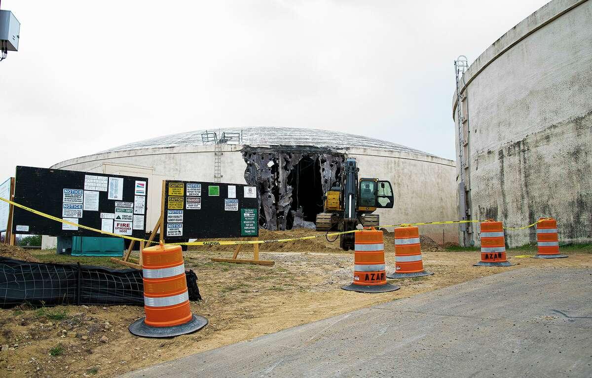 Demolition of the Lyon Street water tanks begins, Wednesday, Apr. 14, 2021.