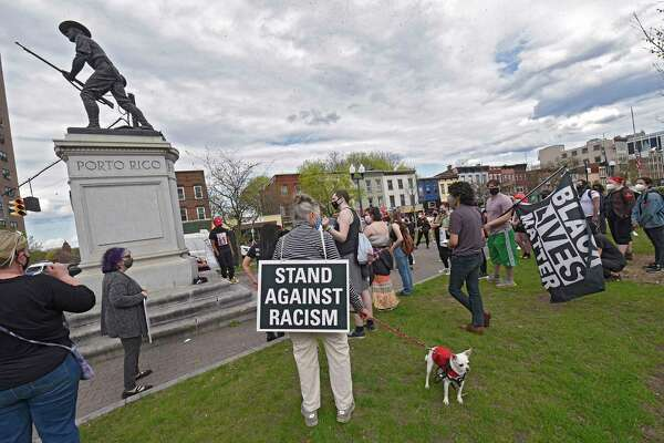 Legacy Casanova speaks during a demonstration held at Townsend Park to protest police brutality and the killing of Daunte Wright on Wednesday, April 14, 2021 in Albany, N.Y. The Minnesota man was gunned down March 11 by a police officer. (Lori Van Buren/Times Union)