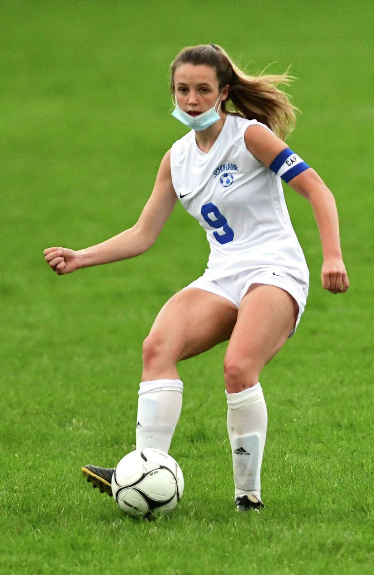 Schoharie's Megan Krohn handles the ball during a soccer game against Duanesburg in April. Krohn was named small-school Athlete of the Year.
