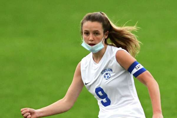Schoharie's Megan Krohn handles the ball during a soccer game against Duanesburg on Wednesday, April 14, 2021 in Delanson, N.Y. (Lori Van Buren/Times Union)