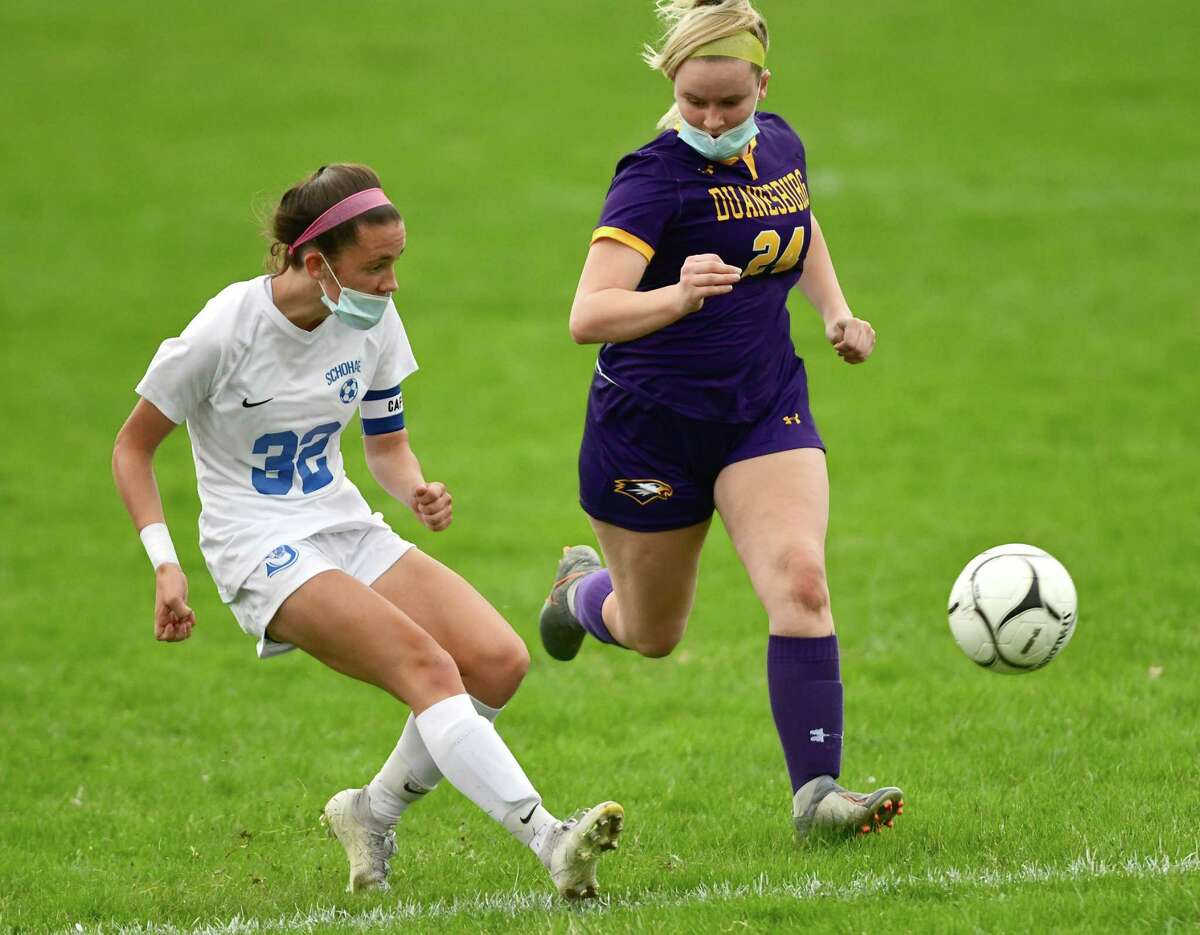 Schoharie's Katie Krohn, left,scores while defended by Duanesburg's Taylor Meyer during a soccer game on Wednesday, April 14, 2021. She now has 232 career goals.