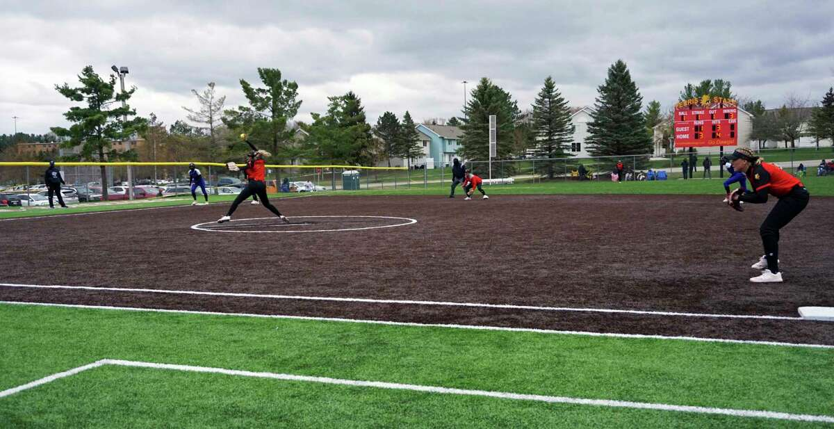 Ferris State pitcher Kristie Gray delivers to home plate during the second game of a doubleheader against Grand Valley State on Wednesday afternoon. (Pioneer photo/Joe Judd)