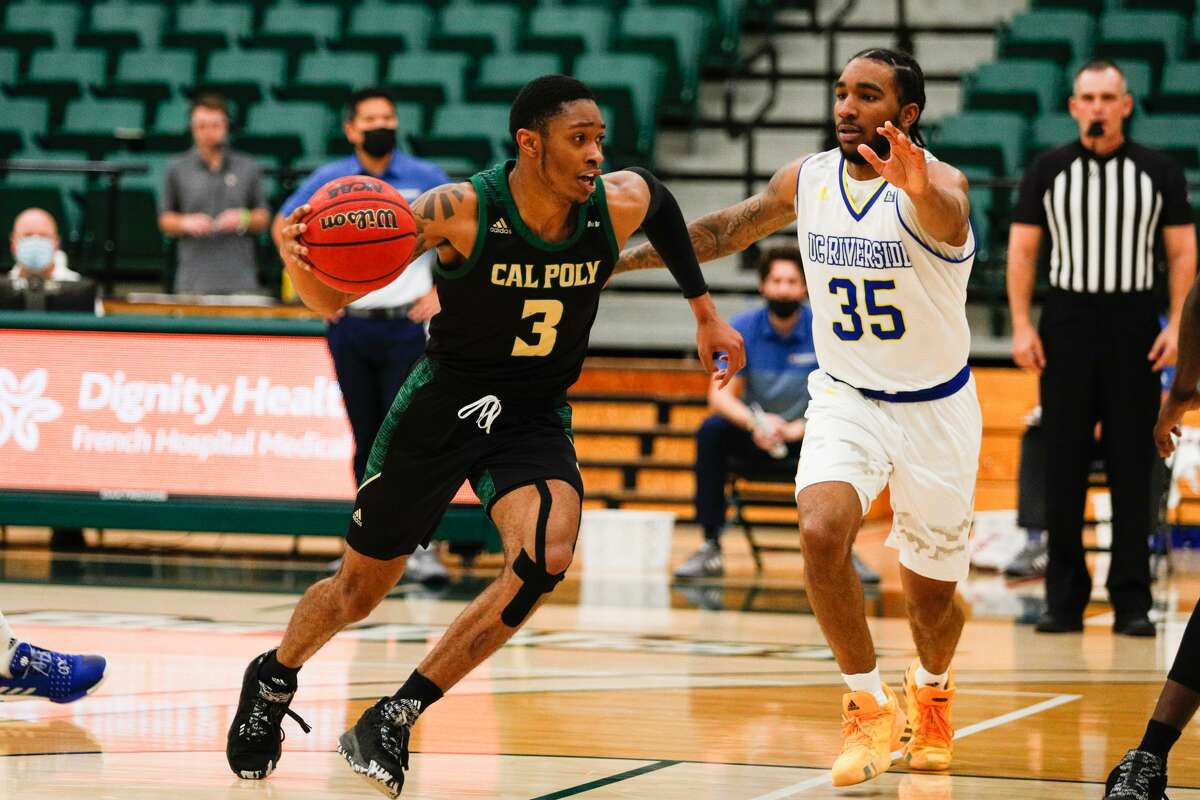 Colby Rogers, left, of Cal Poly is transferring to Siena. (Owen Main / Cal Poly Athletics)