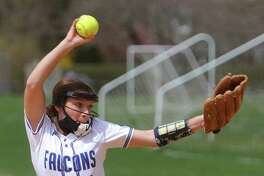 Fairfield Ludlowe's Julia Magliocco pitches against Greenwich during FCIAC softball action on Wednesday in Fairfield. Magliocco earned her second win of the season with the shutout. Ludlowe has outscored opponents 44-4 in opening the season with three straight wins.