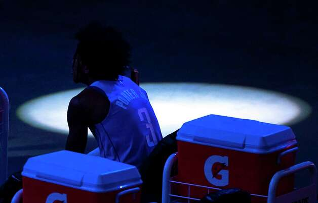 Houston Rockets guard Kevin Porter Jr. (3) sits in his seat during a timeout during the second quarter of an NBA game between the Houston Rockets and Indiana Pacers on Wednesday, April 14, 2021, at Toyota Center in Houston. Photo: Mark Mulligan, Staff Photographer / © 2021 Mark Mulligan / Houston Chronicle
