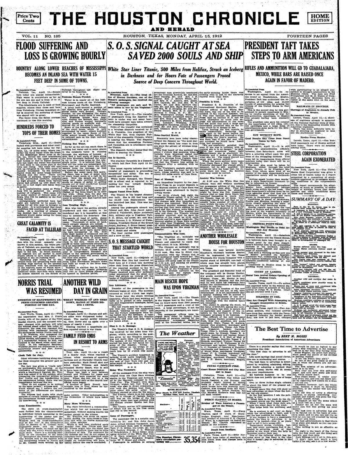Houston Chronicle front page from April 15, 1912.