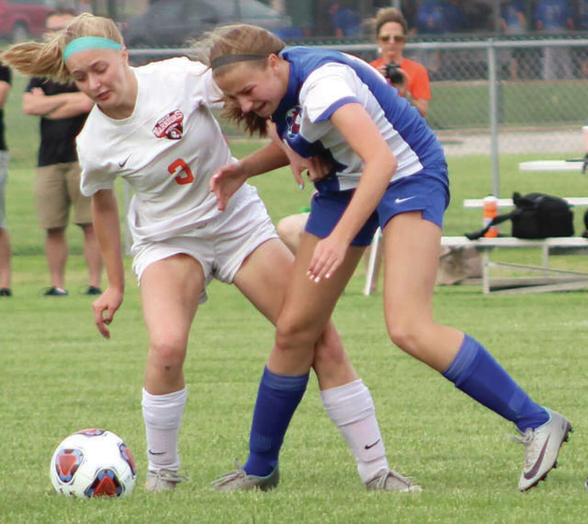 Roxana's Macie Lucas (right) led the Shells with 22 goals as a sophomore in the 2019 season, the last time the state's girls soccer teams played games after the IHSA cancelled last season because of the pandemic. Lucas is shown against Wesclin during the 2018 playoffs.