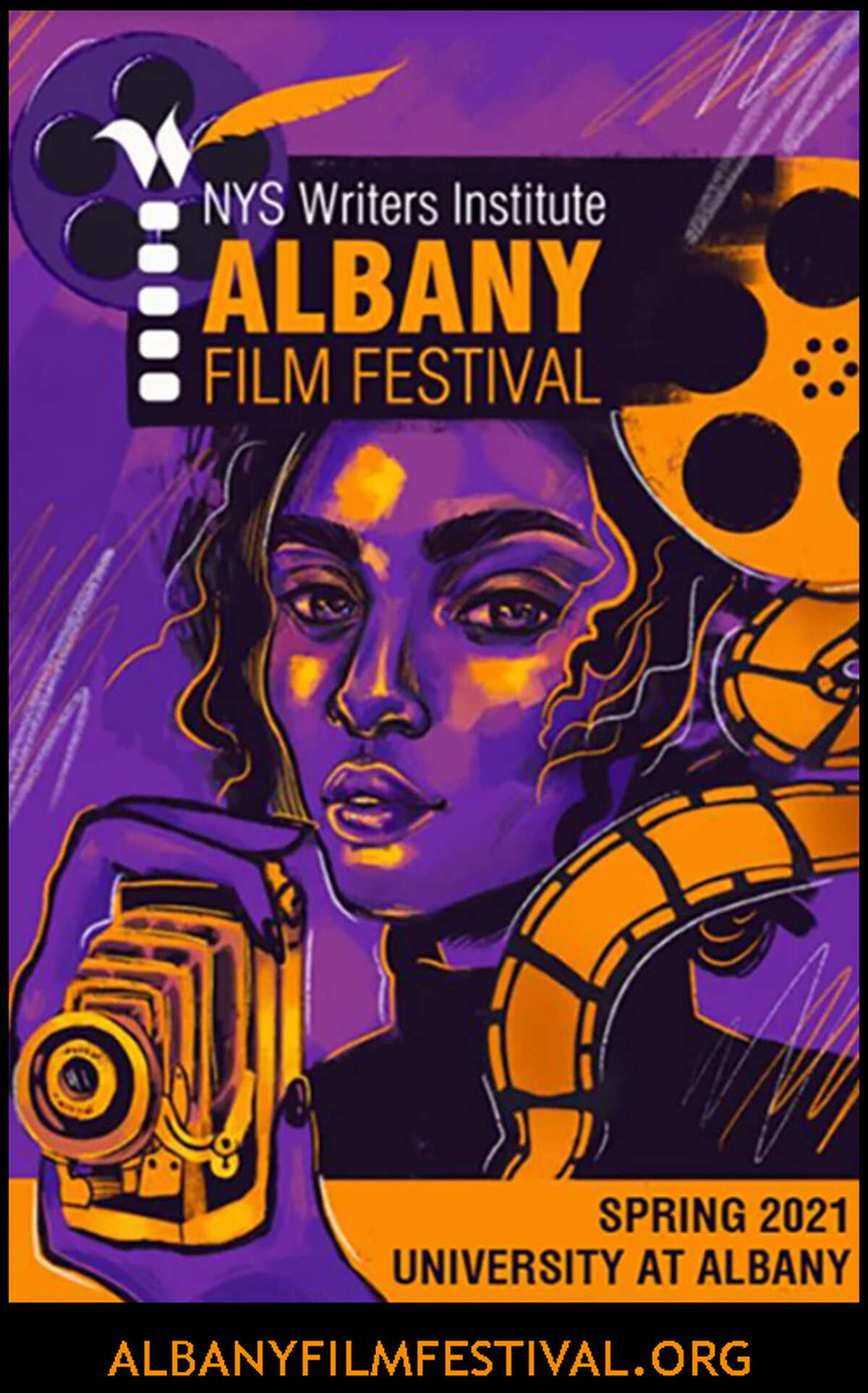 The poster for the inaugural Albany Film Festival, sponsored by the New York State Writers Institute and being held in person and online from April 24 through May 3. (Provided photo.)