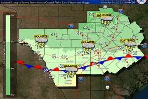 The San Antonio area could see isolated storms on Thursday.