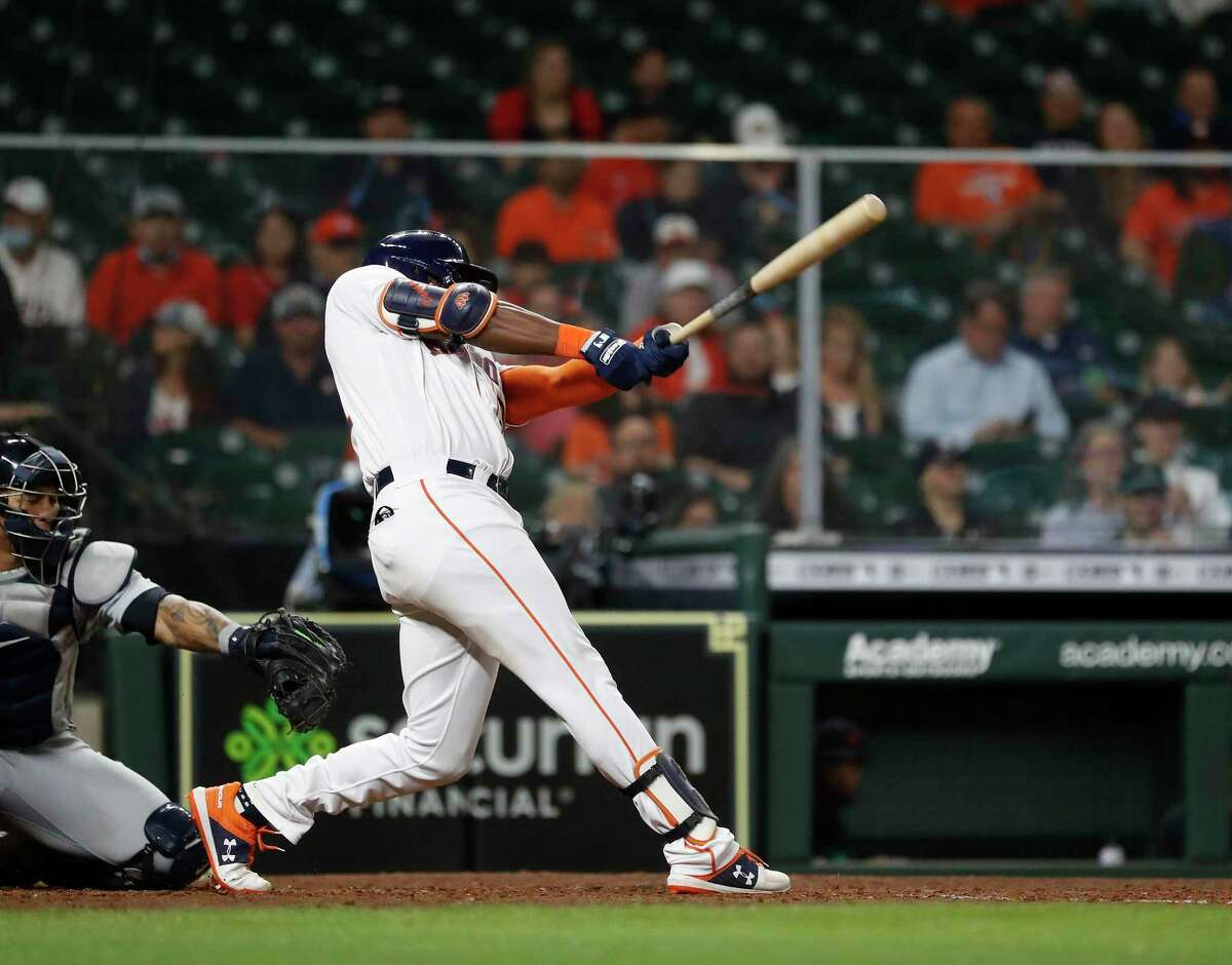 Houston Astros designated hitter Ronnie Dawson (31) gets his first major league hit off of Detroit Tigers Alex Lange during the seventh inning of an MLB baseball game at Minute Maid Park, in Houston, Wednesday, April 14, 2021.