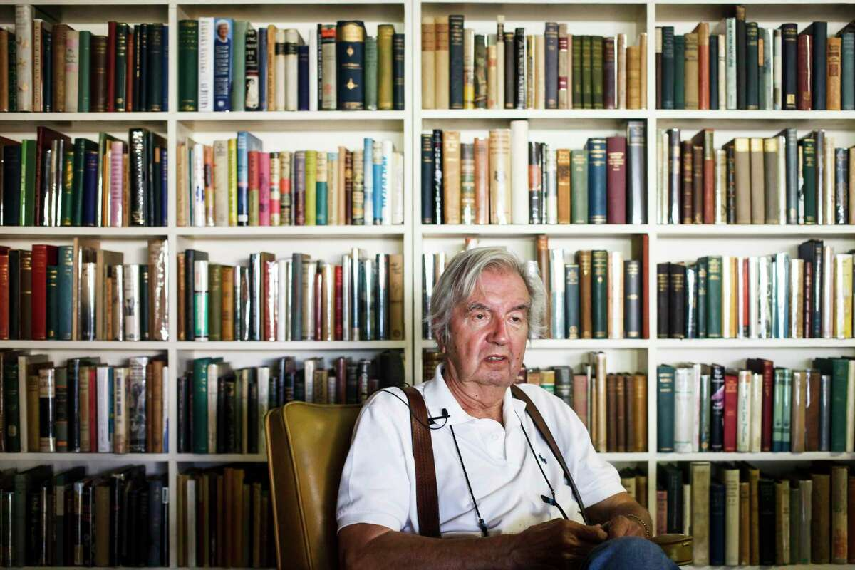 """Larry McMurtry, the famed Texas novelist, screenwriter and bookseller, who won a Pulitzer Prize for his book """"Lonesome Dove"""", reminisces of his career while sitting in his bookstore, Booked Up No. 1, before auctioning more than 300,000 books at """"The Last Book Sale,"""" Friday, Aug. 10, 2012, in Archer City. ( Michael Paulsen / Houston Chronicle )"""