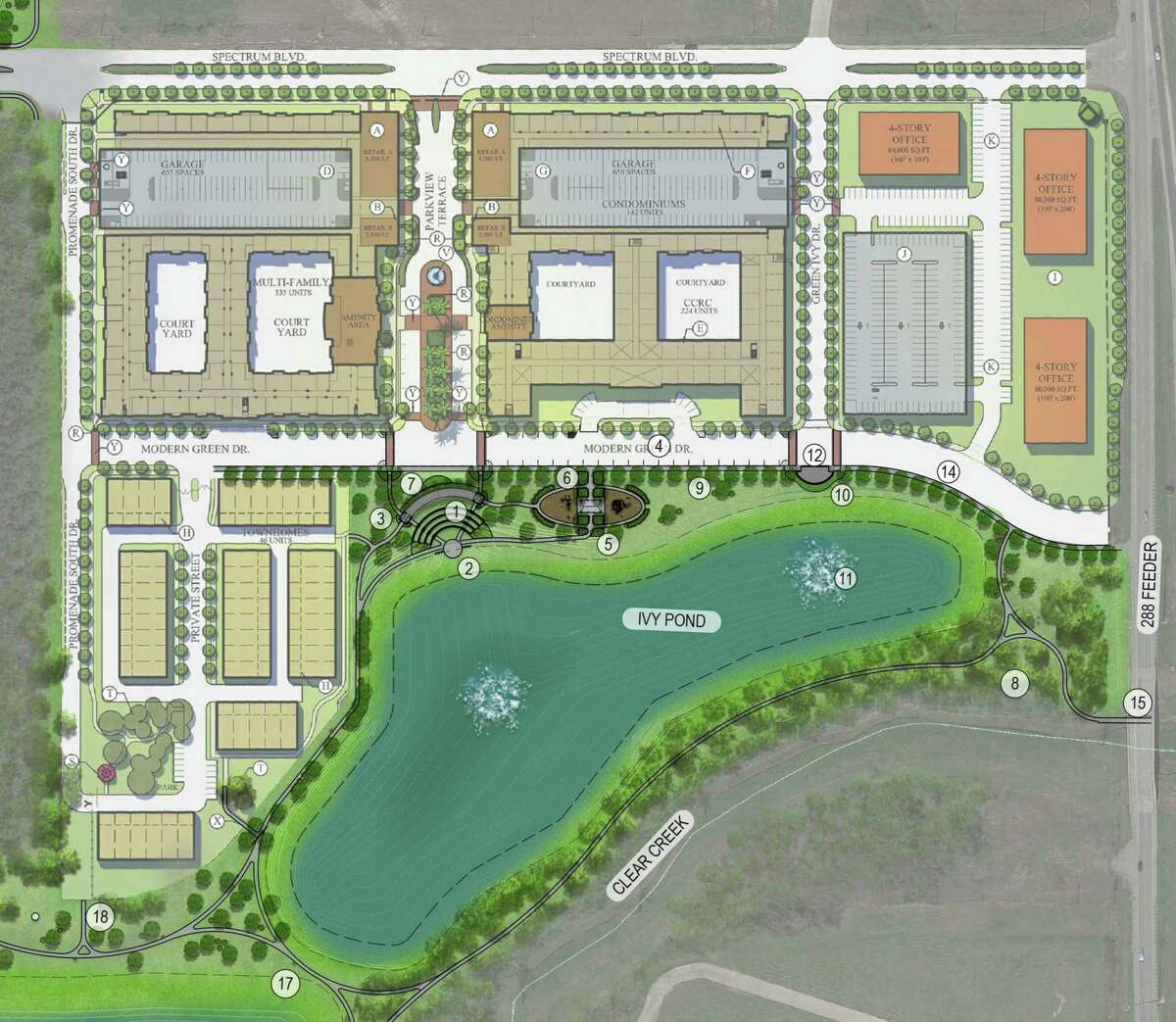 The Ivy District mixed-use development will go in Pearland's Lower Kirby District.