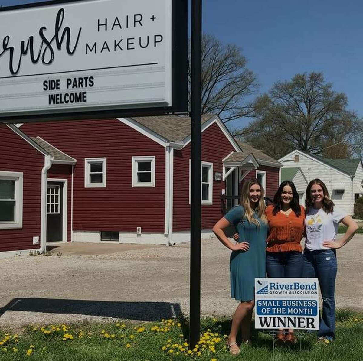FIEL - The RiverBend Growth Association has named BRUSH Hair + Makeup as its Small Business of the Month. Pictured from left are Kristen Kanon, Liz Campbell and Jamie McLaughlin. Not pictured are Jessica Grace and Sarah Zimmerman.