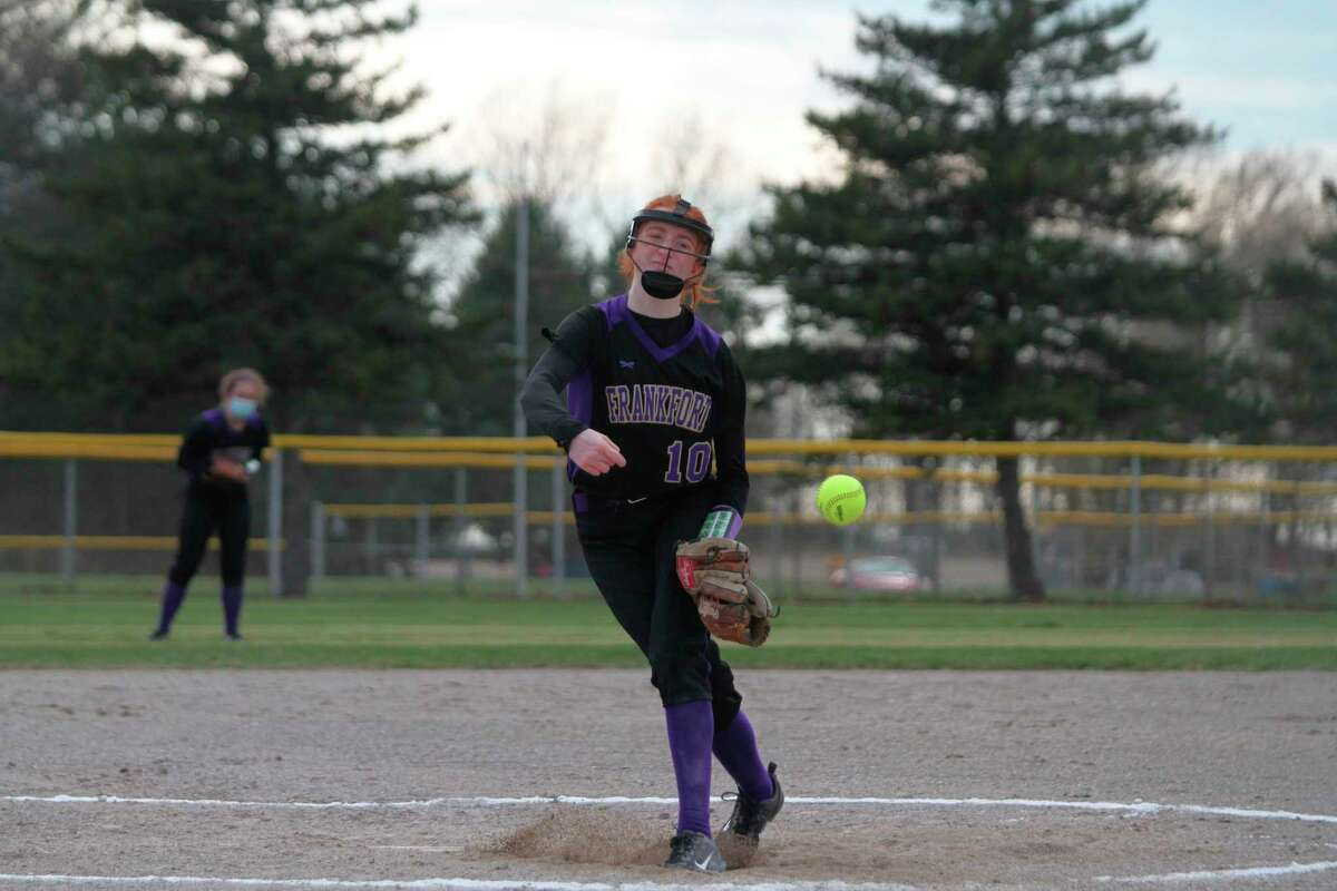 Frankfort's Taylor Myers delivers a pitch Wednesday during the Panthers' season-opening sweep of Manistee Catholic Central in Manistee. (Dylan Savela/News Advocate)