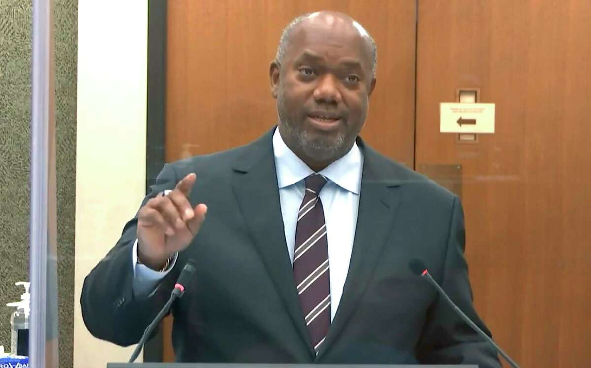 In this image from video, prosecutor Jerry Blackwell speaks as Hennepin County Judge PeterCahill discusses motions before the court Thursday, April 15, 2021, in the trial of former Minneapolis police officer Derek Chauvin at the Hennepin County Courthouse in Minneapolis. Chauvin is charged in the May 25, 2020 death of George Floyd. (Court TV via AP, Pool)