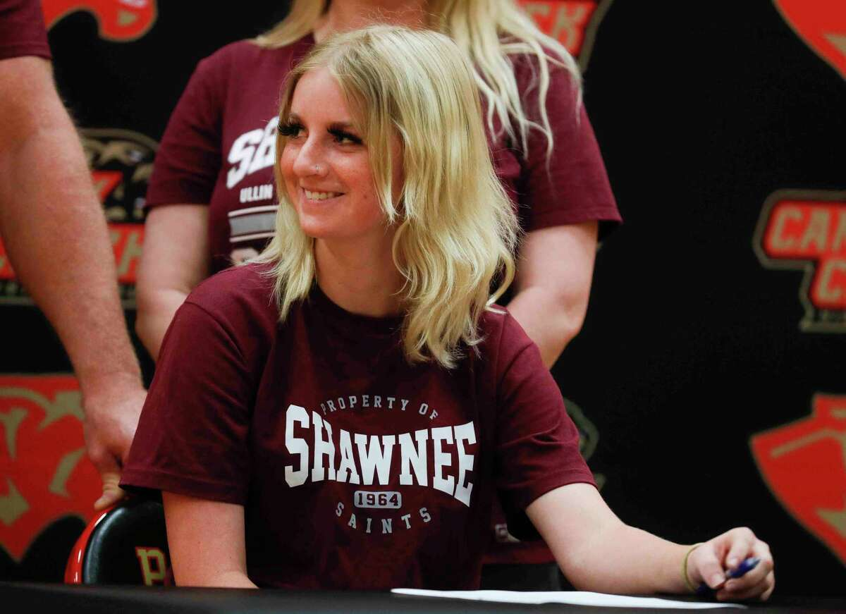 Ashlie Drye signed to play softball at Shawnee Community College during a ceremony at Caney Creek High School, Thursday, April 15, 2021, in Grangerland. Drye