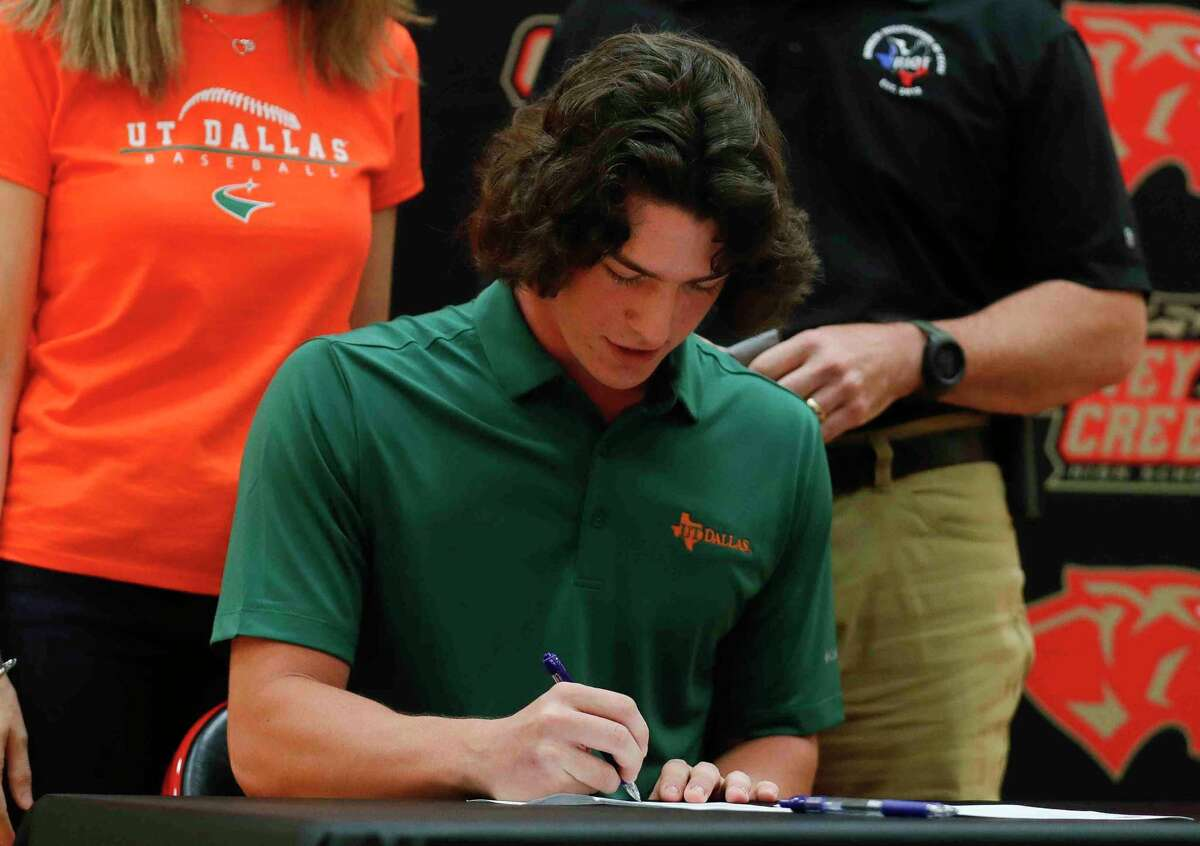 Derek Brieden signed to play baseball for UT Dallas during a signing ceremony at Caney Creek High School, Thursday, April 15, 2021, in Grangerland.