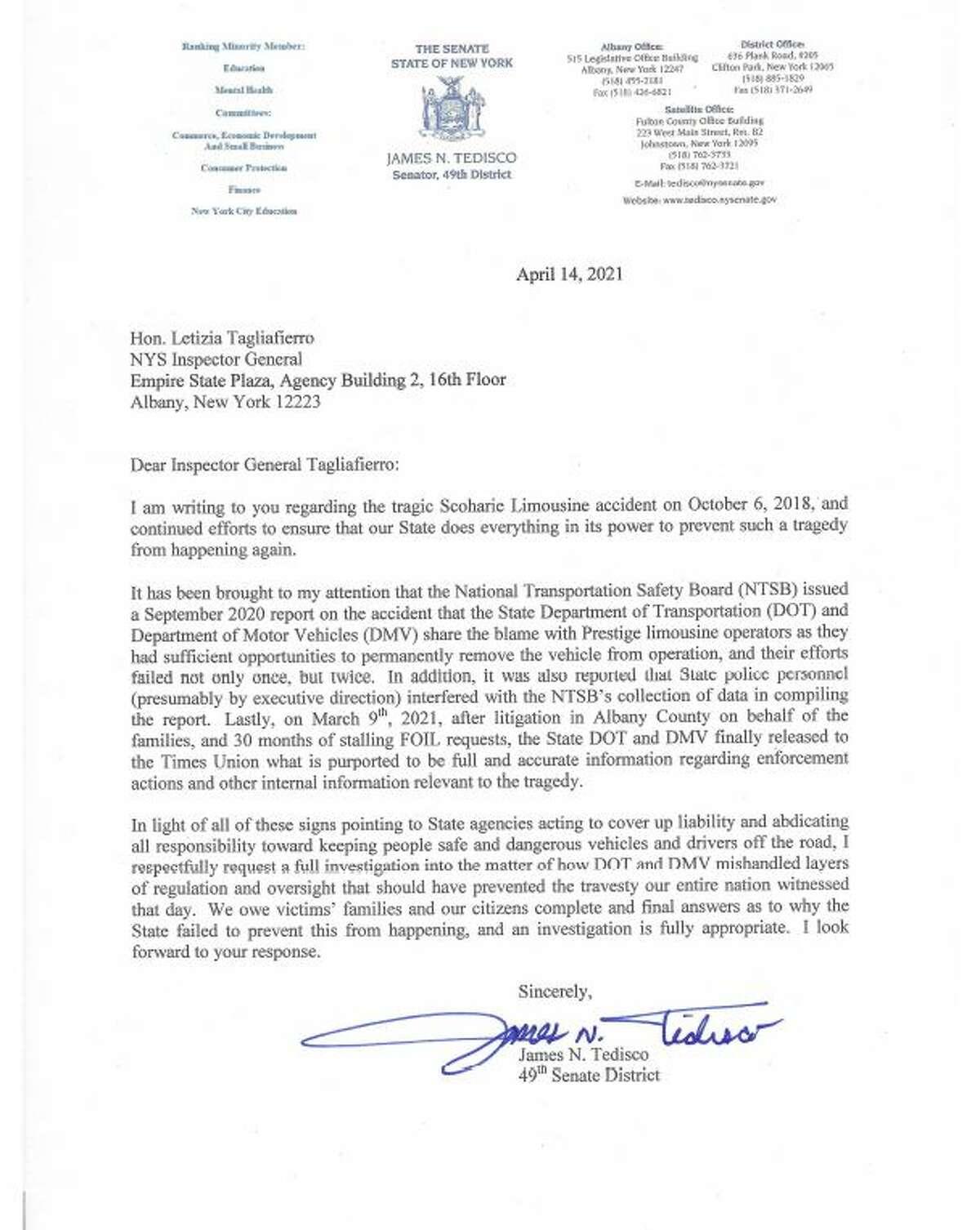 A letter written by state Sen. James Tedisco to Investigator General Letizia Tagliafierro regarding the 2018 limousine crash in Schoharie