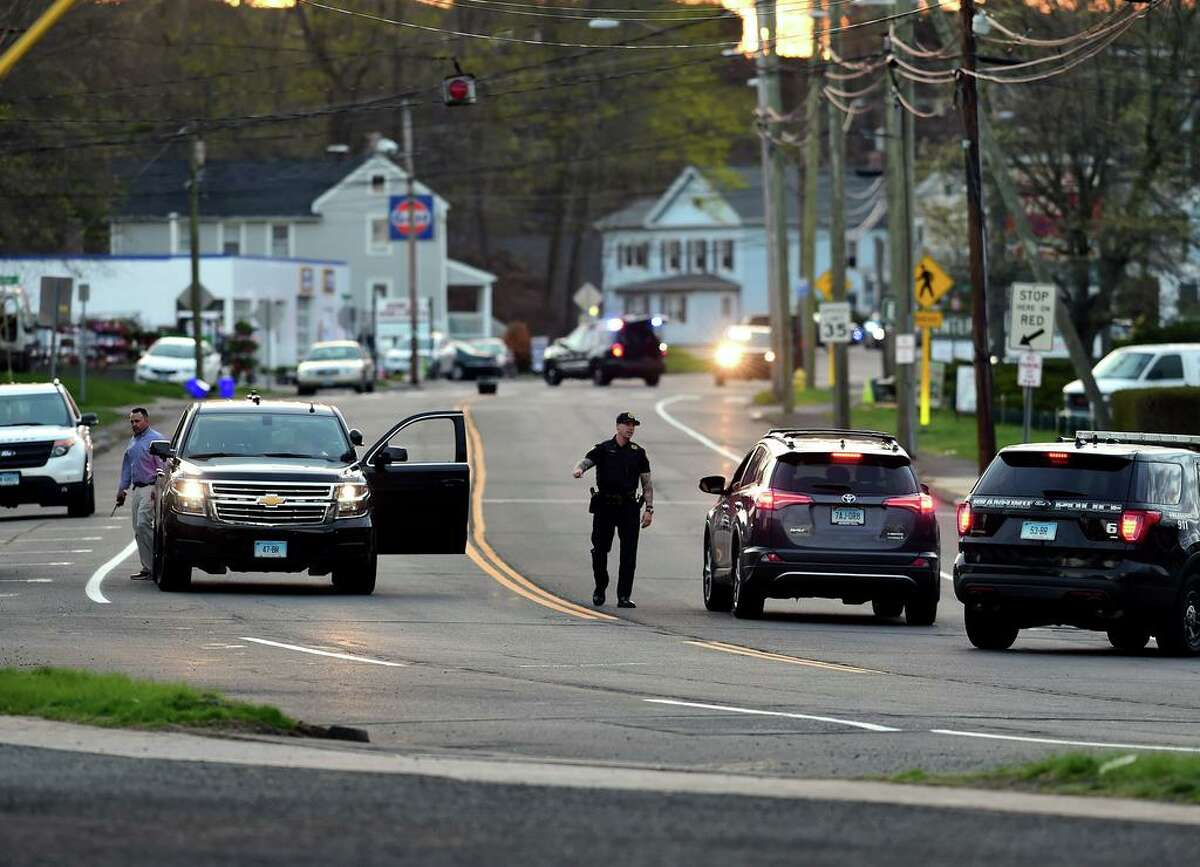 Branford Police at the scene of a shooting on Main Street in Branford on April 13, 2021.