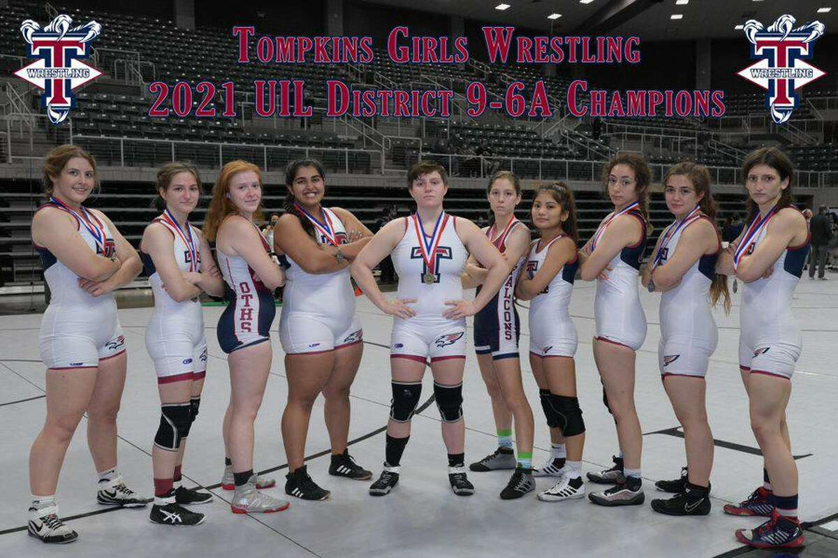 The Tompkins girls wrestling team scored 145 points to win the District 9-6A championship, followed by Seven Lakes (127) and Katy (86).