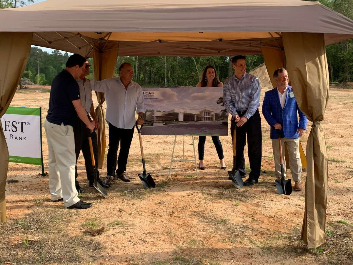 Attending the groundbreaking for Willis Surgery Center are (from left to right): Jason Laningham, MD; Gary Sharpless, MD; Dimitrios Mantzoros, DPM; Amber Smith, office supervisor; Jeremy Laningham, MD; and Matt Davis, CEO of HCA Houston Healthcare Conroe.