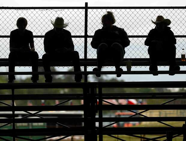 Visitors watch the replacement heifer show at the Montgomery County Fair & Rodeo, Thursday, April 15, 2021, in Conroe. Photo: Jason Fochtman/Staff Photographer / 2021 © Houston Chronicle