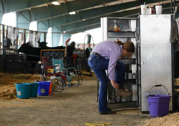 Zoe Romanchuk of Montgomery Dobbin 4-H puts on her boots before the replacement heifer show at the Montgomery County Fair & Rodeo, Thursday, April 15, 2021, in Conroe. Photo: Jason Fochtman/Staff Photographer / 2021 ? Houston Chronicle