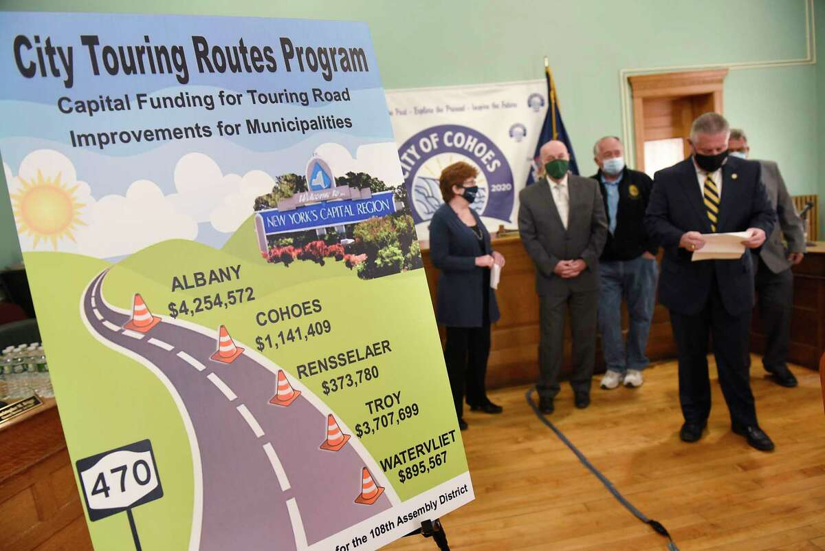 A poster showing capital funding for touring road improvements for municipalities is displayed during a press conference at the Cohoes City Hall on Thursday, April 15, 2021 in Cohoes, N.Y. Local elected officials discussed new capital program funding appropriated in the recently enacted New York State Budget that will fund arterial maintenance work in the 108th Assembly District. (Lori Van Buren/Times Union)