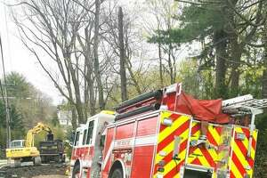 A Greenwich fire engine was temporarily immobilized by buckling pavement on Anderson Road.