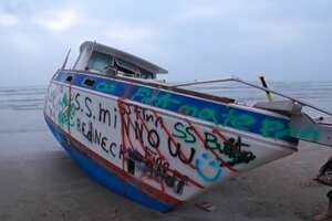 According to the owner, a storm with 40-foot waves wrecked his ship.