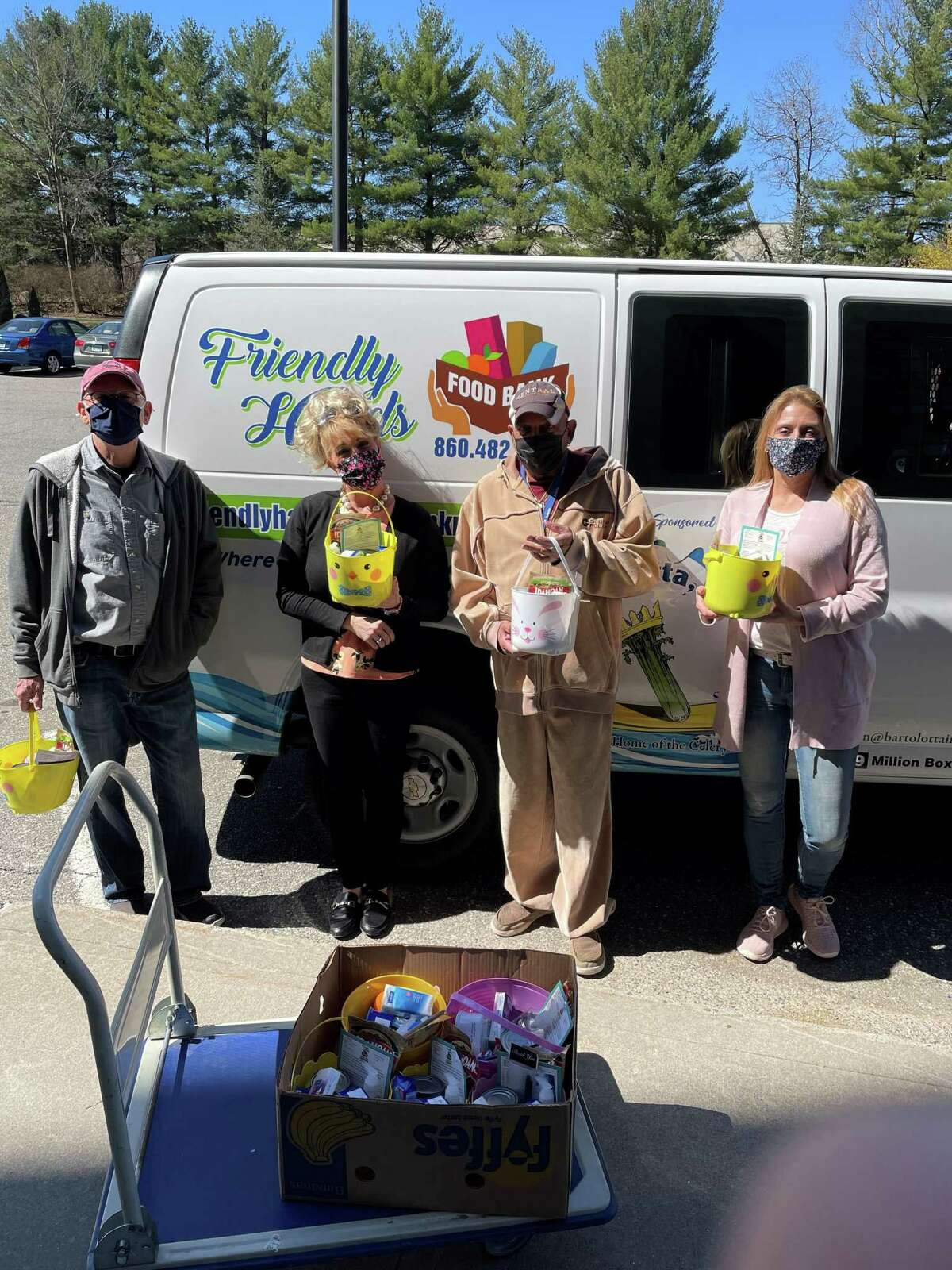 Friendly Hands Food Bank in Torrington brought Easter baskets to senior housing complexes in the city on March 30.