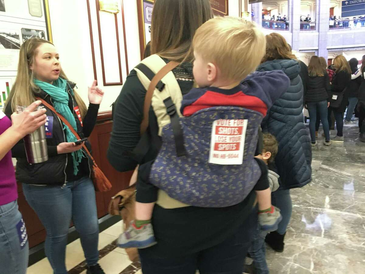 In February 2020, thousands of people gathered in the State Capitol complex to protest a bill that would repeal the religious exemption from mandatory childhood vaccinations. The bill was abandoned when the General Assembly ended its session in the pandemic, but this year the bill is heading for a vote in the House of Representatives.