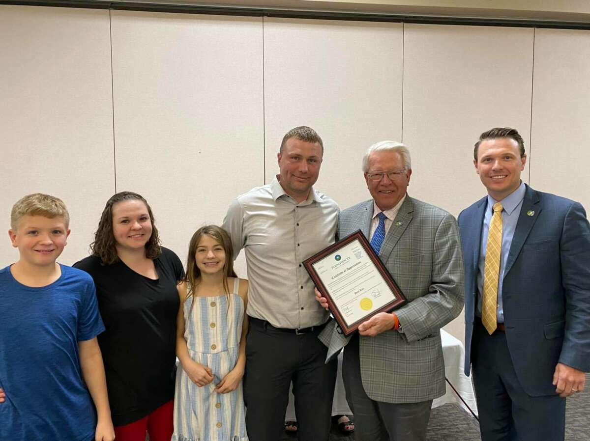 The Plainview City Council recognized Paul Kite for his five years of service to the city during Tuesday's regular meeting. Kite's last day is Friday, April 16. Pictured: Aiden Kite, Amber Kite, Addison Kite, Assistant Director of Utilities Paul Kite, Mayor Charles Starnes and City Manager Jeffrey Snyder