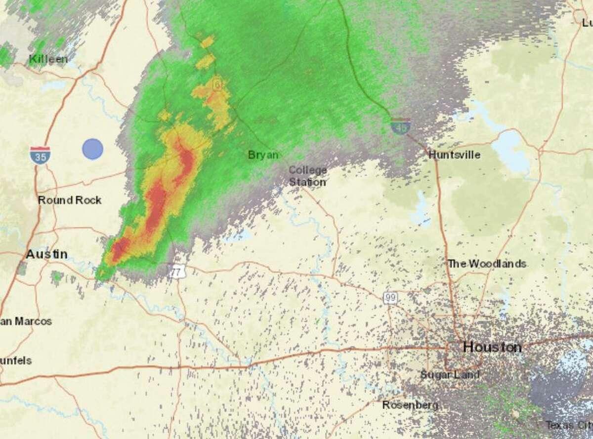 Radar image just after 5 p.m. on April 15, 2021.