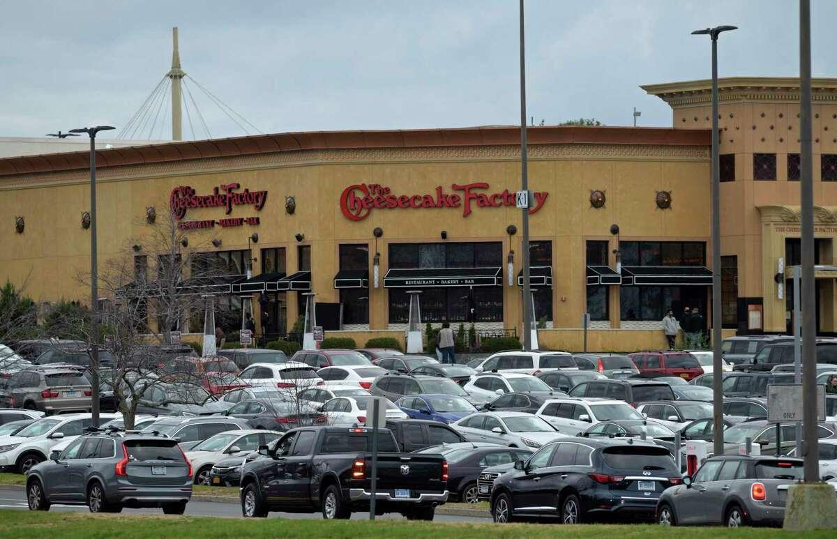 The Danbury Fair mall with full parking lots on Black Friday, Nov. 27, 2020, in Danbury, Conn.